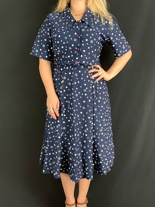 Navy Blue And White Geometric Print Shirtwaist Dress View 1