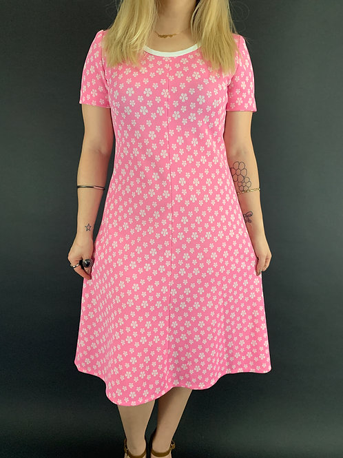 Pink And White Flower Power A-Line Shift Dress View 1