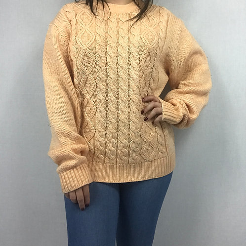 Pale Peach Chunky Knit Pullover Sweater View 1