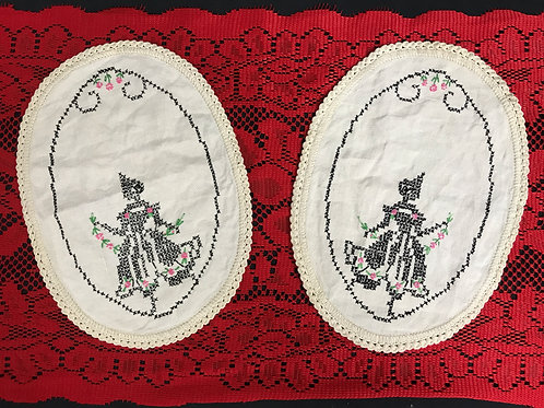 Pair Of Oval Embroidered Doilies With Crochet Trim View 1