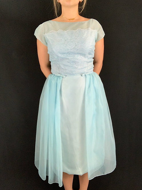 Powder Blue Lace And Chiffon Formal Dress View 1