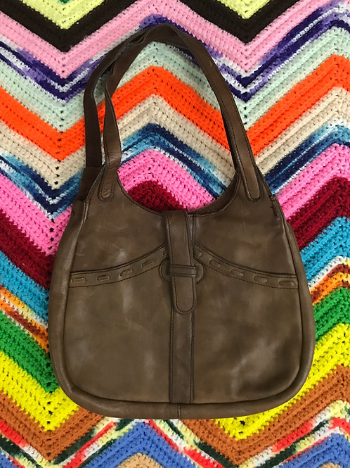 Brown Soft Leather Shoulder Purse View 1
