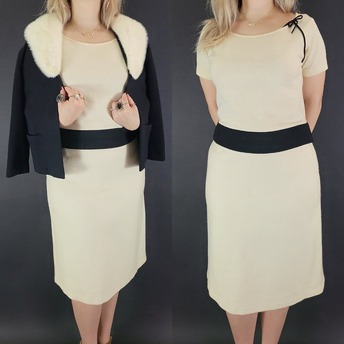 Creamy Ivory And Black Skirt Set With Fur Trim Sweater View 1