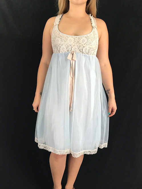 Baby Blue And Cream Lace And Chiffon Negligee Nightgown View 1