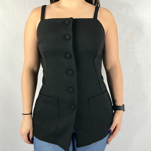 Black Button Up Sleeveless Top View 1
