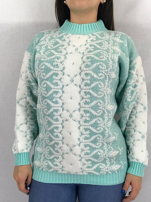 Pastel Green White And Metallic Lurex Pullover Sweater View 1