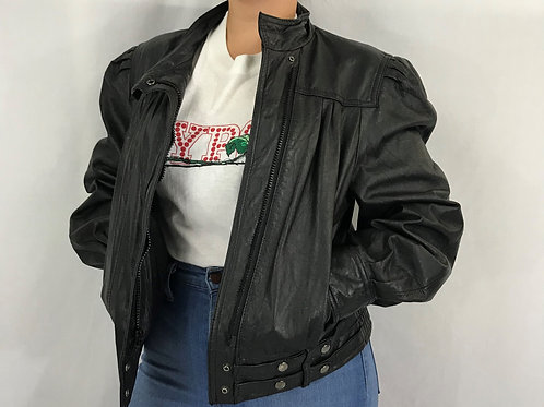 Black Leather Bomber Jacket View 1