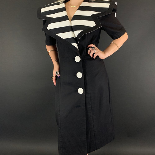 Black And White Striped Sailor Collar Power Dress View 1
