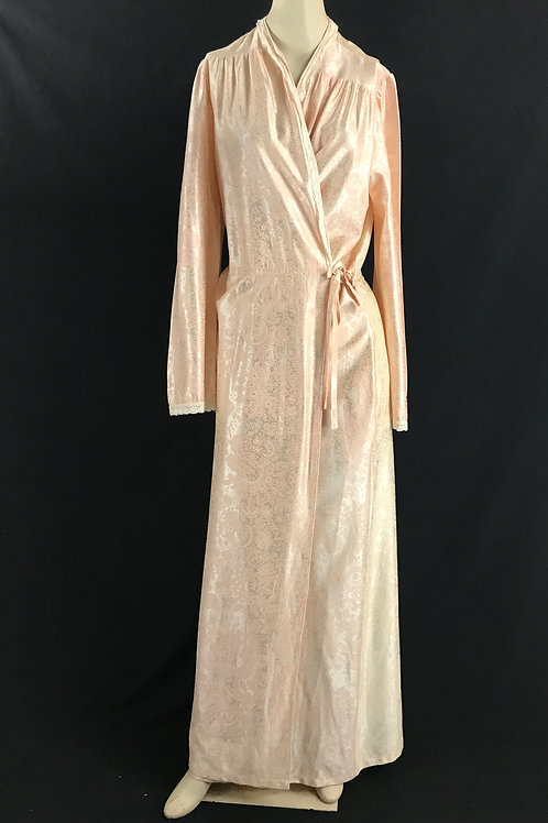 Light Pink Floral And Paisley Silk Brocade Robe View 1