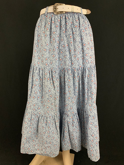 Light Blue Paisley Skirt With Belt View 1