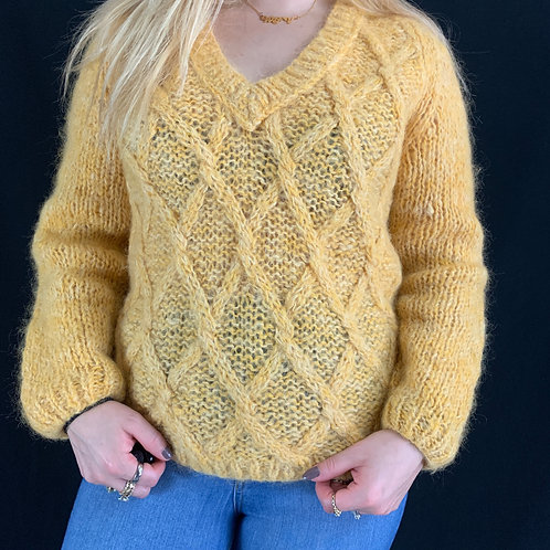 Canary Yellow Open Knit Sweater View 1