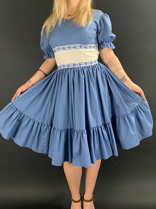 Light Blue And White Ruffle Square Dance Dress View 1