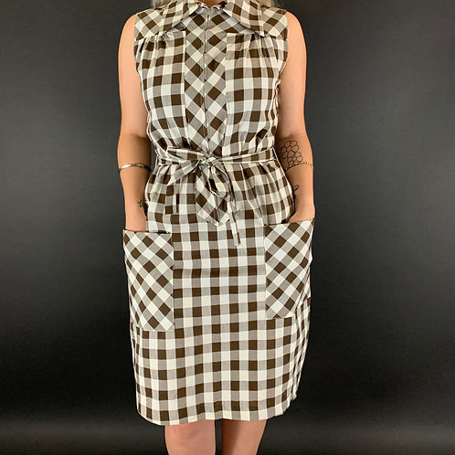 Brown Gingham Front Zip House Dress View 1