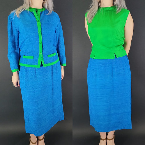 Blue And Lime Green 3-Piece Skirt Suit Set View 1