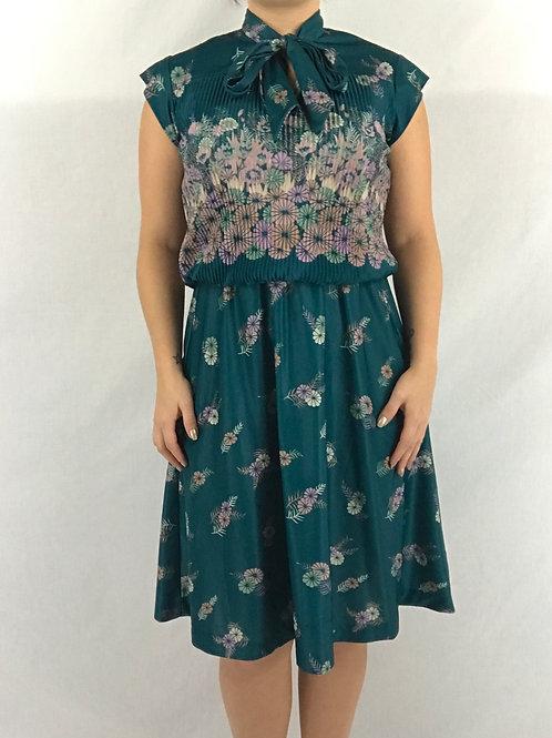 Teal Floral Tie Neck Dress View 1