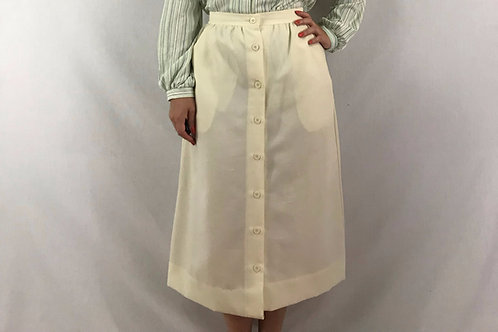 Cream Color Button Front High Waist Midi Skirt View 1