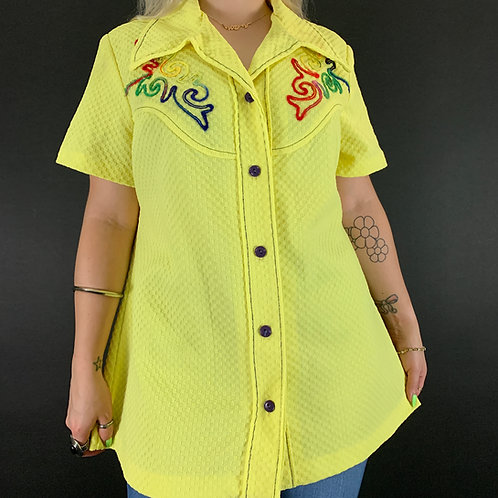 Yellow Textured Embroidered Button Up Blouse View 1