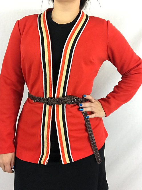 Red Striped Trimmed Open Jacket View 1