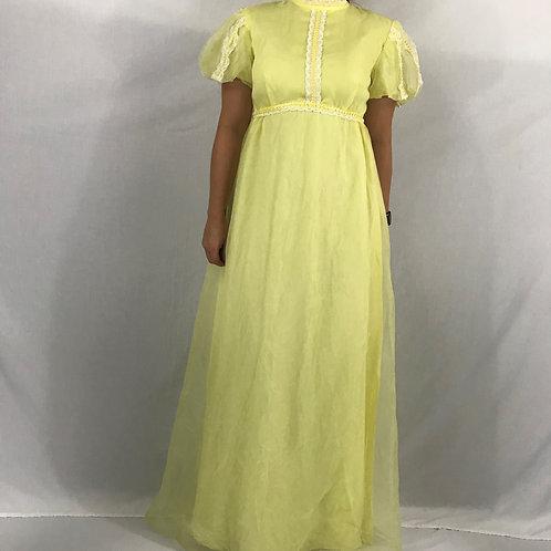 Yellow Empire Waist Puff Sleeve Maxi Dress View 1