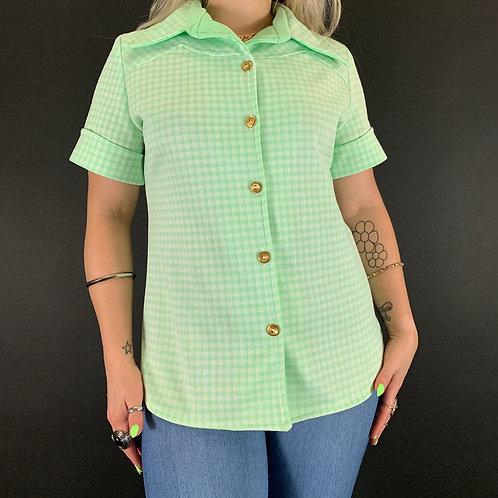 Mint Green Gingham Dagger Collar Button Up Blouse View 1