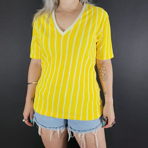 Deadstock Yellow and White Striped Terry Cloth Shirt View 1