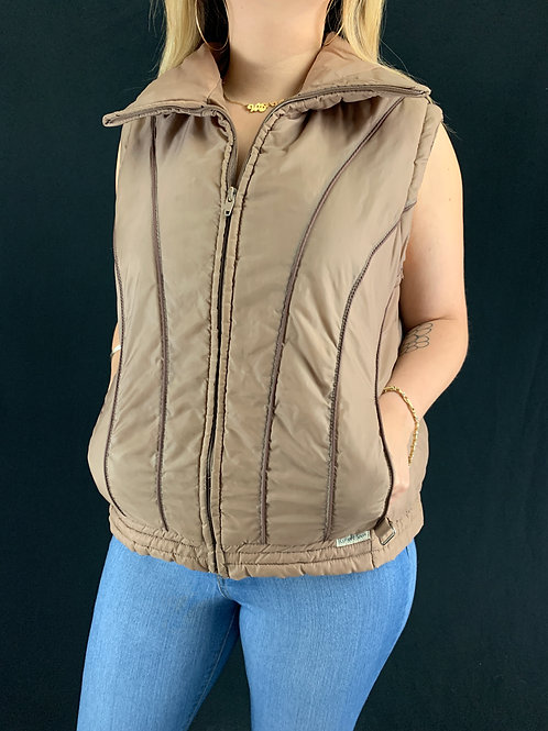 Brown Striped Puffer Vest View 1