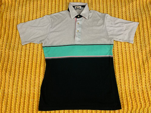 Men's Color Block Striped Polo Shirt View 1