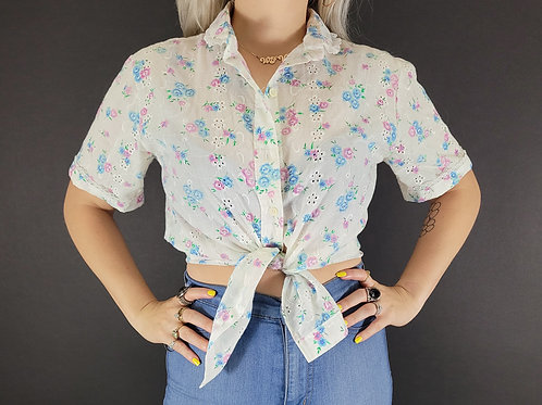 Floral Button Down Short Sleeve Blouse View 1
