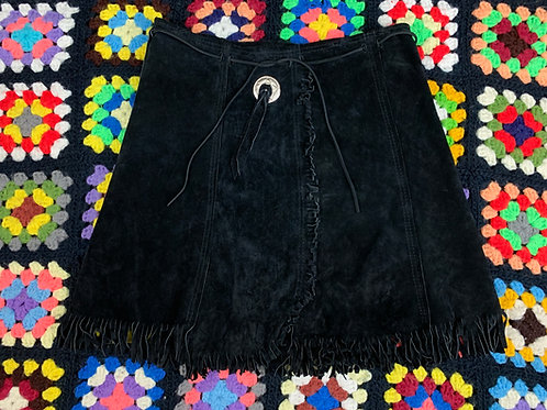 Black Suede Leather Fringe Skirt View 1