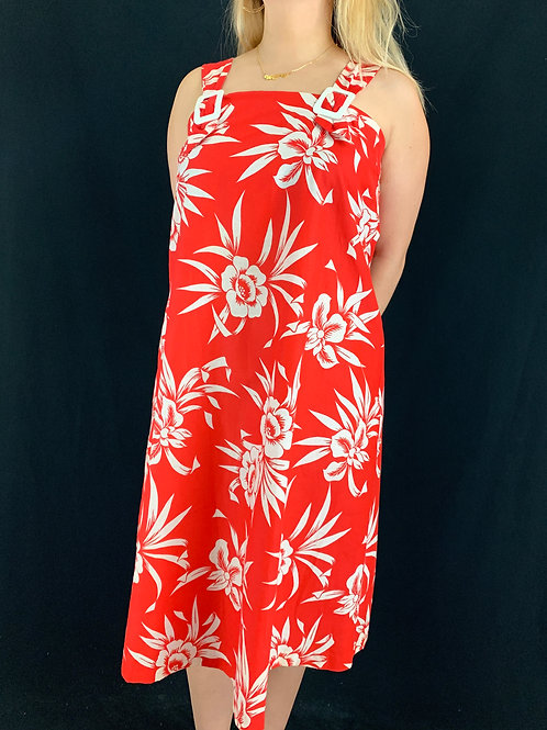 Red And White Floral Sleeveless Dress View 1