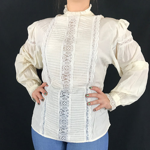 Cream Color Victorian Style Long Sleeve Lace Blouse View 1
