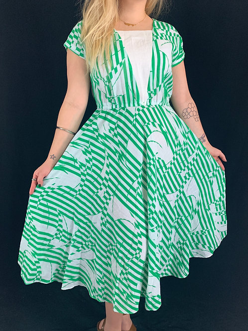 Green And White Linen Dress View 1