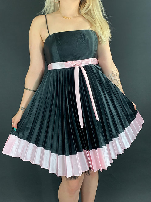 Black And Pink Spaghetti Strap Party Dress Wit Bow Accent View 1
