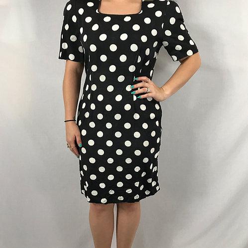 Black And White Polka Dot Square Neckline Dress View 1