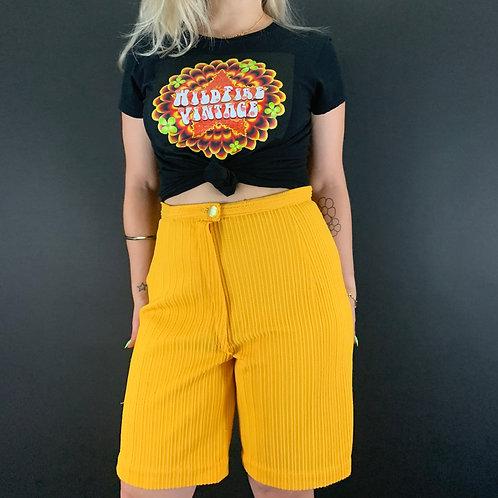 Dark Tangerine Textured Polyester High Rise Shorts View 1
