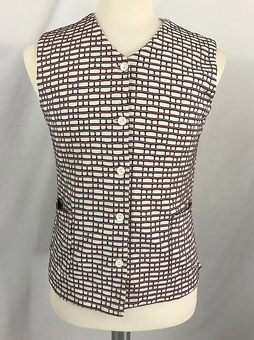 Men's Red Black And White Geometric Print Button Vest View 1