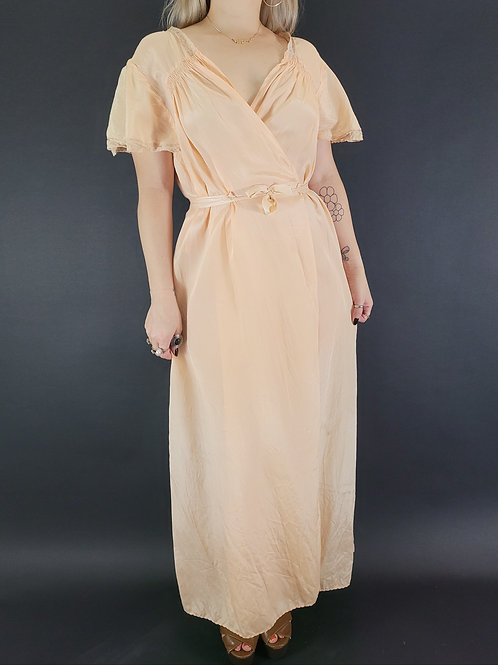 Pale Peach Peignoir Dressing Gown/Robe View 1
