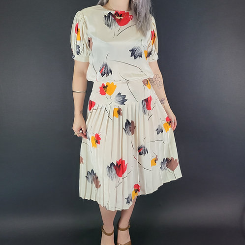 Abstract Floral Pleated Silk Dress View 1