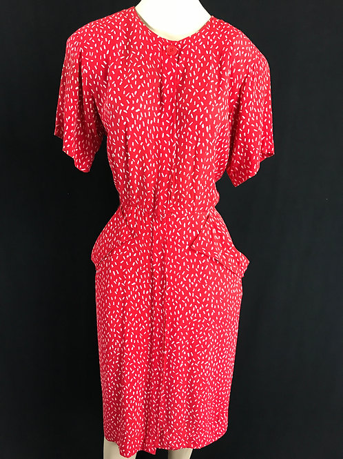 Red And White Confetti Print Shirtwaist Wiggle Dress View 1