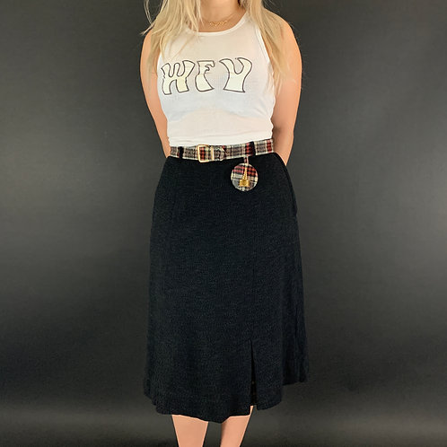 Wool And Plaid Belted Pencil Kick Pleat Skirt View 1
