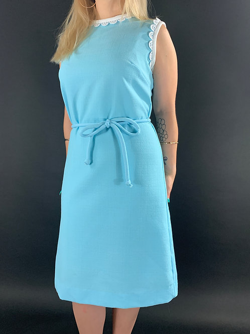 Baby Blue And White Sleeveless Shift Dress With Matching Waist Tie View 1