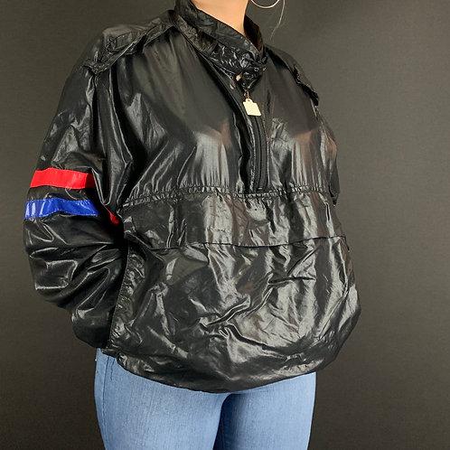 Black Half Zip Windbreaker Jacket View 1