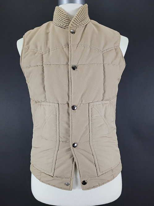 Beige Quilted Snap Button Vest View 1