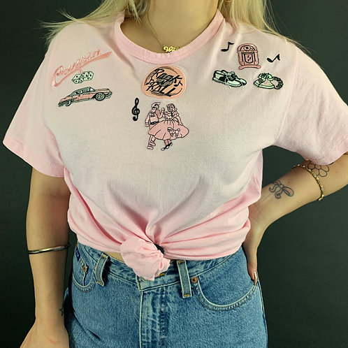 Pink T-Shirt With 50s Retro Patches View 1