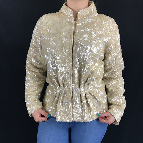Cream Color Sequin Evening Cocktail Jacket View 1