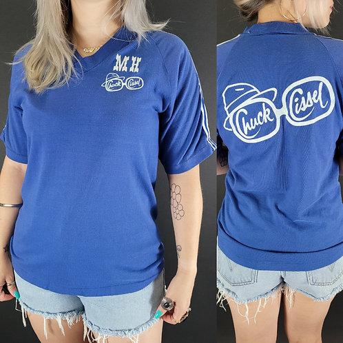 Blue V-Neck Chuck Cissel Short Sleeve T-Shirt View 1