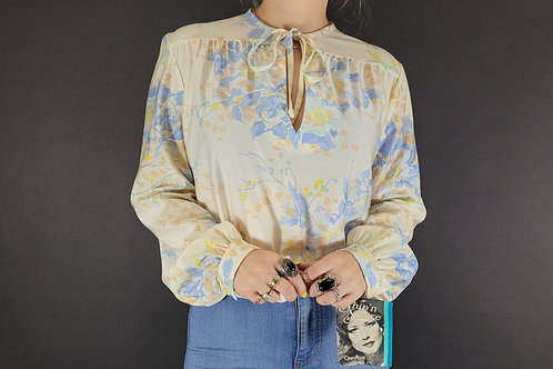 Floral Long Sleeve Key Hole Neckline Blouse View 1