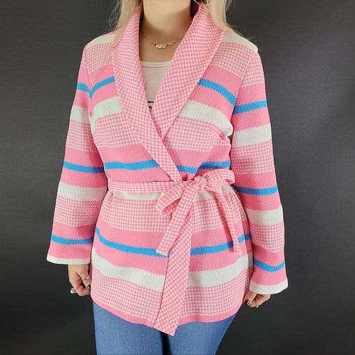 Pink Chunky Wrap Sweater View 1