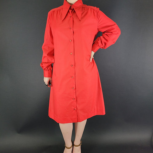 Red Dagger Collar Long Sleeve Shirt Dress View 1