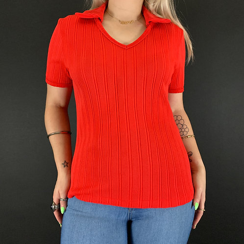 Solid Red Ribbed V-Neck Collared Shirt View 1